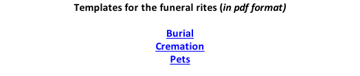 Templates for the funeral rites (in pdf format)  Burial Cremation Pets
